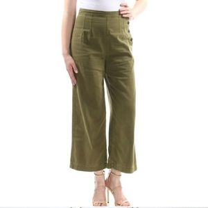 Free People Pleated Crop Olive Green Wide Leg Pant